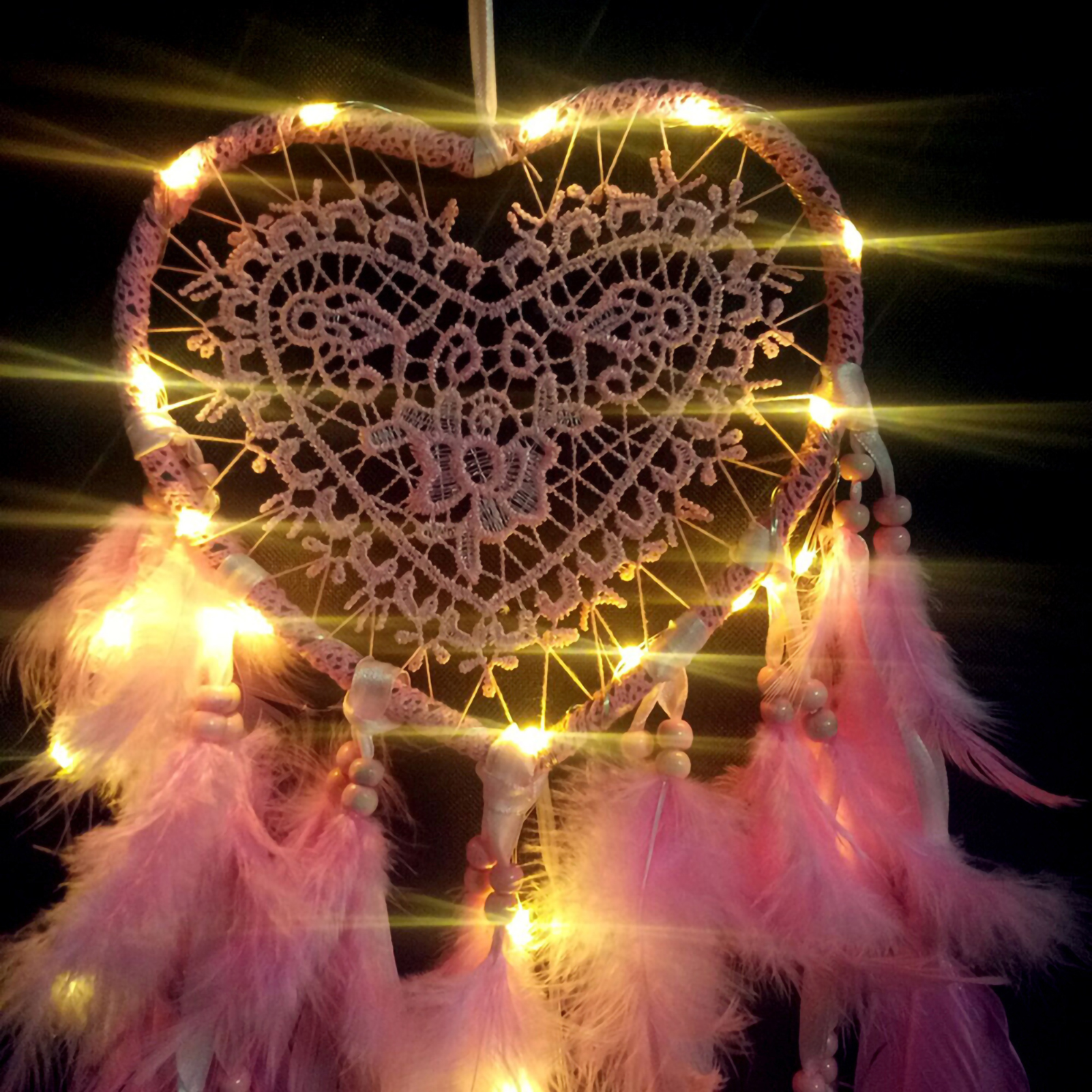 Heart-Shape-Feather-Pendant-LED-String-Light-Dream-Catcher-Home-Hanging-Decor thumbnail 14